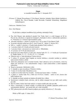 Zápis ze zasedání 11. 11. 2012 - Nejsvětější Srdce Páně Praha