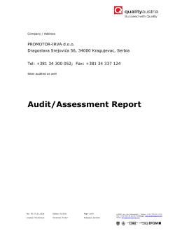 Quality Austria annual surveillance audit report 2012