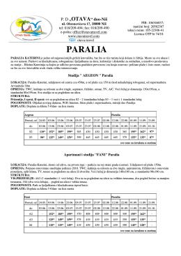 paralia cenovnik 2014