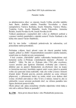 """""""Léta Páně 1891 byla založena tato Památní kniha za"""