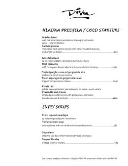 HLADNA PREDJELA / COLD STARTERS SUPE/ SOUPS