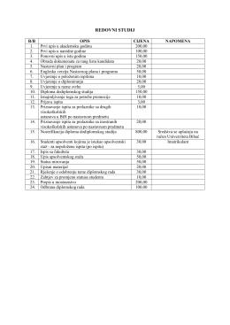 troškovi školarine i drugih usluga koje Univerzitet u Bihaću