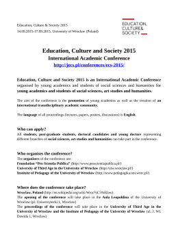 Education, Culture and Society 2015
