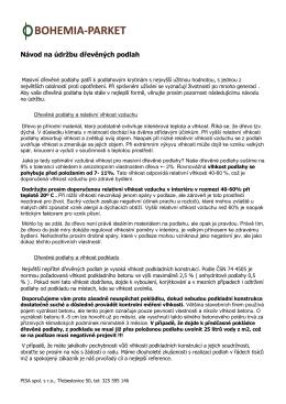 Návod na údržbu dřevěných podlah (PDF)