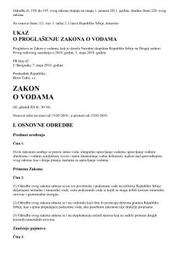 ZAKON O VODAMA - Invest in Novi Sad