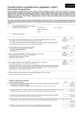 Formulář návrhu na pojištění koní u pojistitelů v Lloyd`s