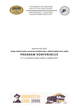 PROGRAM KONFERENCIJE - Univerzitet u Travniku