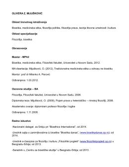 curriculum vitae - Centar za bioetičke studije