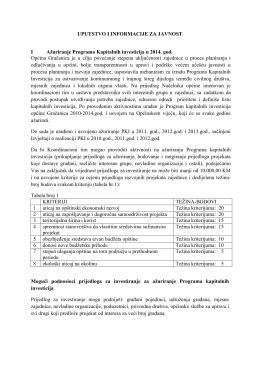 Uputstvo i informacije za javnost - ažuriranje