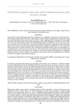 Arhivistički aspekti osnivanja Arhiva Međunarodnog suda