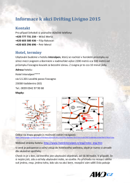 informace pro přihlášené jezdce