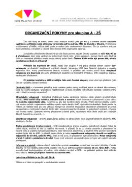 ORGANIZAČNÍ POKYNY pro skupinu A - ZŠ