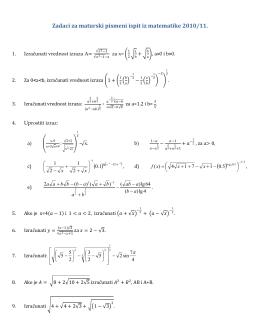 Задаци за припрему матурског испита из математике 2010/2011