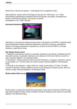 Michel Caza: Tehnika sito štampe – multimedijalni CD na