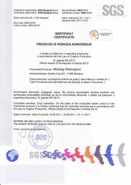 Сертификат 3 - Organska farma LAF
