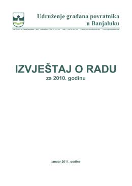 IZVJEŠTAJ O RADU - Udruzenje gradjana povratnika u Banjaluku