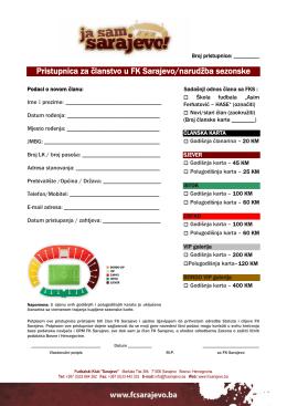 Pristupnica za članstvo u FK Sarajevo/narudžba