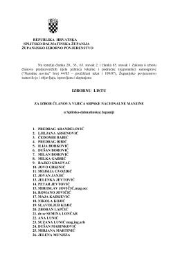 izborna lista za izbor članova vijeća srpske nacionalne manjine u