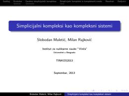 Simplicijalni kompleksi kao kompleksni sistemi