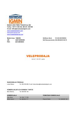 Cjenovnik VELEPRODAJA - Masterplast Igmin