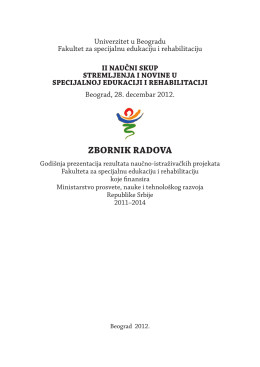 ZBORNIK RADOVA - icf - University of Belgrade