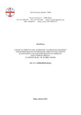 Godišnji izveštaj za zarazne bolesti 2012