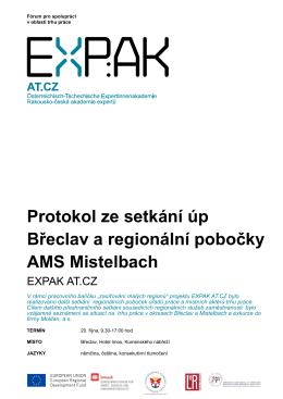 Protokol ze setkání úp Břeclav a regionální pobočky AMS Mistelbach