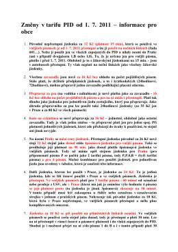 Změny v tarifu PID od 1