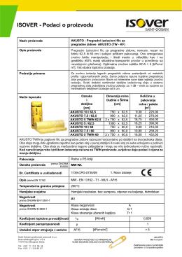 ISOVER specifikacija proizvoda AKUSTO filc za pregradni zid