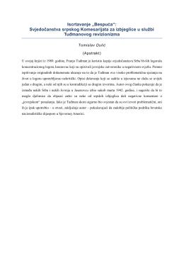 Svjedočanstva srpskog Komesarijata za izbjeglice u službi