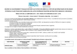 1 bourse du gouvernement français destinée aux éléves diplômés