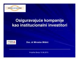 Osiguravajuće kompanije kao institucionalni investitori