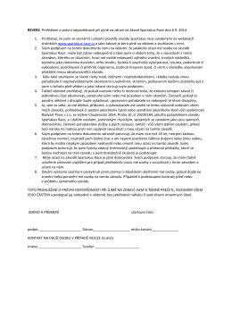 REVERZ Prohlášení o právní odpovědnosti při