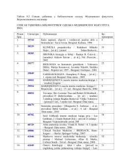 Табела 9.2 Списак уџбеника у библиотечком одељку