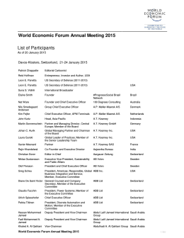 World Economic Forum Annual Meeting 2015 List of Participants