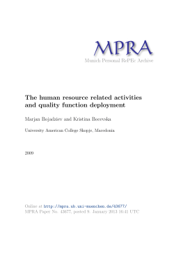 The human resource related activities and quality function deployment
