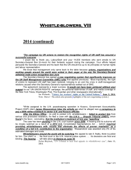 Whistle-blowers, VIII 2014 (continued)