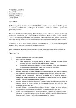 """PP """"FEKETIĆ"""" a.d.SOMBOR Broj:186/12 Dana:22.06.2012.Godine"""