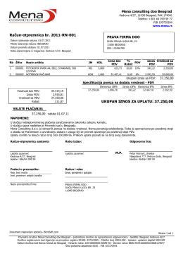primer računa za robu kupcu iz Srbije kada se plaća PDV