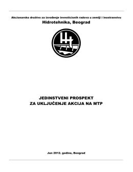 Jedinstveni prospekt za uključenje akcija na MTP