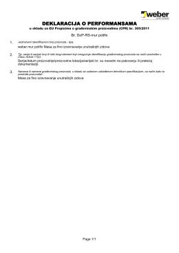 Dop - Deklaracija o performansama weber.mur polifix T