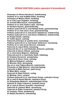 SPISAK DOKTORA (stalno zaposleni ili konsultanati)