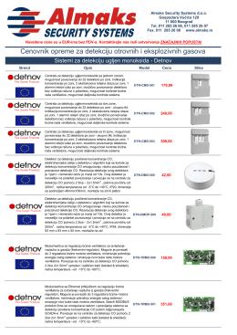 Detekcija Opasnih Gasova - Almaks Security Systems
