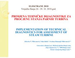 č primjena tehničke dijagnostike za procjenu stanja parnih turbina