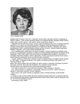 Prof. dr Nadežda Jeličić Nadežda Jeličić je rođena 9. jula 1937. u