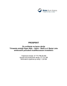 Prospekt za uvrštenje na berzu akcija Trinaeste emisije Hypo Alpe