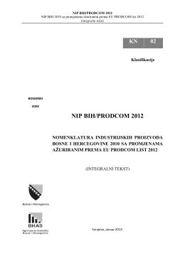 NIP BIH/PRODCOM 2012