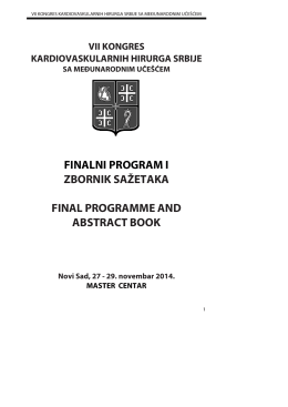 finalni program zbornik sažetaka final programme a abstract book