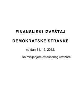 Финансијски извештај Демократске странке, на дан 31. 12. 2012.