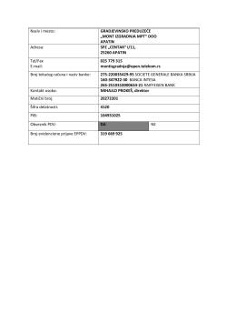 Podaci za identifikaciju u PDF formatu